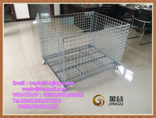 Warehouse Steel Pallet Container Folding Stacking/Galvanized storage cage with wheels