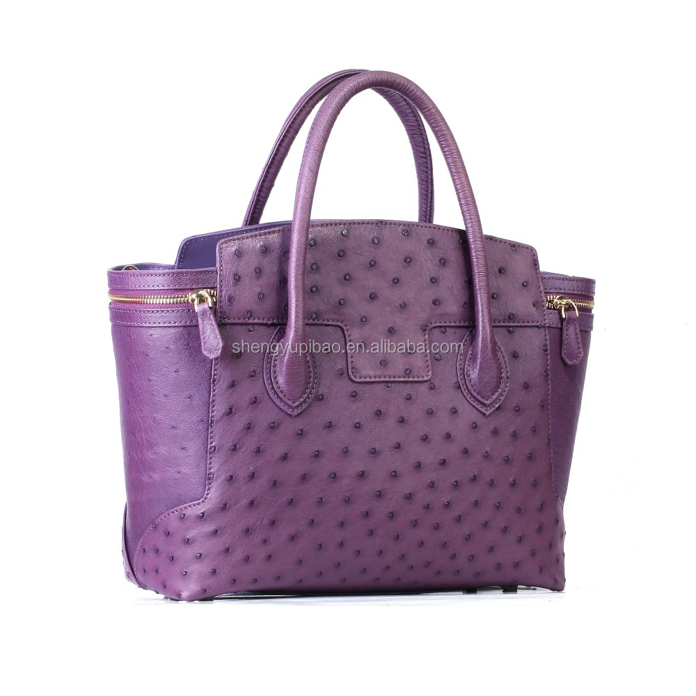 Online Shop 2016 New Products Hot Sell China Wholesale Vintage Genuine Ostrich Leather Women Handbag