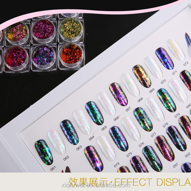 Cosmetic chameleon effect pigment for nail art flake