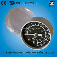"medical oxygen pressure gauge 40 atm 1.5"" black dial axial mount manometer with ISO9001,CE certificate"