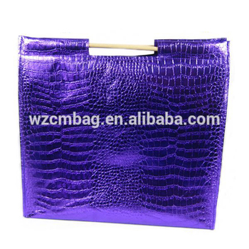 new design carry wooden stick croco tote bag