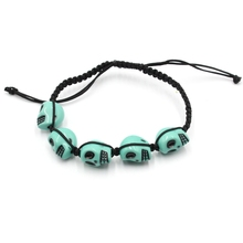 New Fashion Promotional Gifts Wax Cord Braided Plastic Skull Bracelet For Man