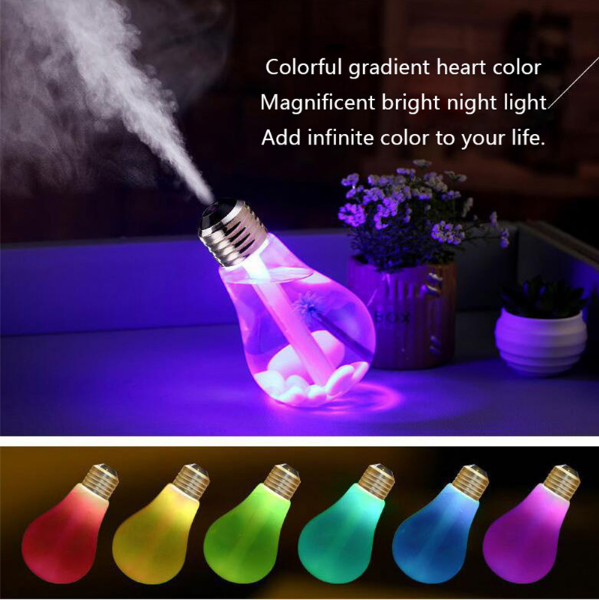 New Design Colorful Light Bulb Humidifier Mini Portable USB Office Home Table Top 400ml Household Car Humidification