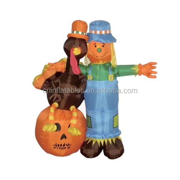 inflatable decoration lighting/6 Foot Thanksgiving Inflatable Scarecrow + Turkey + Pumpkin