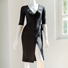 UK autumn style sexy V neckline stripe rib bandage belt bodycon warp side slit skirt midi black base knit dress