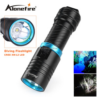 Alonefire DV30 Portable 2000LM 1XCREE XM-L2 LED Waterproof Torch Flashlight Light Scuba 100m Underwater Diving Flashlights