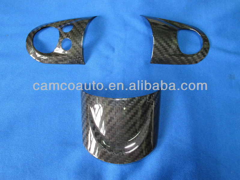 CARBON FIBER STEERING WHEEL DECORATION COVER FOR R56, W/PHONE BUTTON HOLE