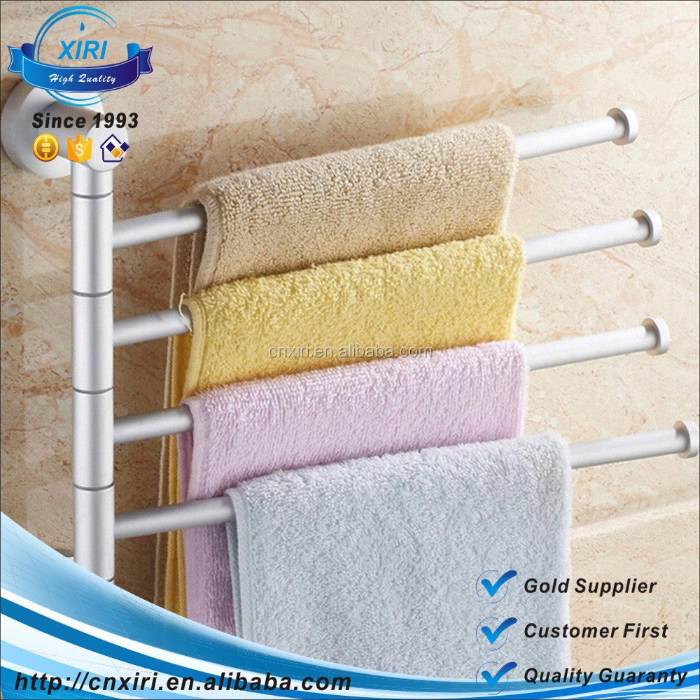 Wholesale New Design Wall Mounted 4 Arms Space Aluminum Pallet Hook Bathroom Towel Bar Racks MJJ-1