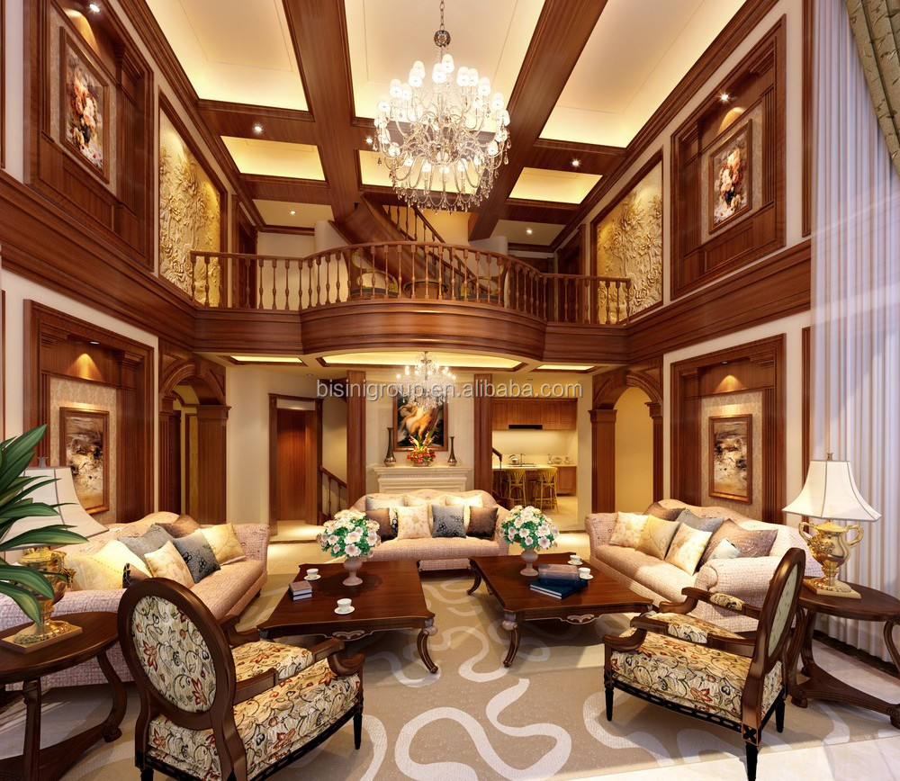 Classic elegant 3d rendering for american style villa living room interior design bf11 02293n