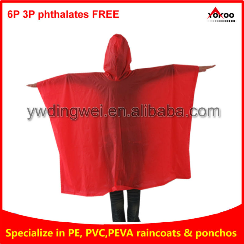 pvc hooded rain cape poncho for adults