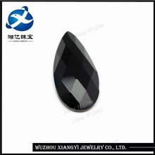 Charm crystal stone factory price, pear flat bottom checkerboard black glass stones ,names of black precious stones