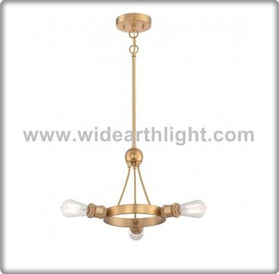 UL CUL Listed Antique Brass Metal Hanging Light Fixture With Three Edison Bulbs C50419