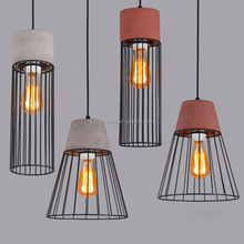Industrial decorative steel rattan lampshade concrete pendant lamp with E27 lampholder