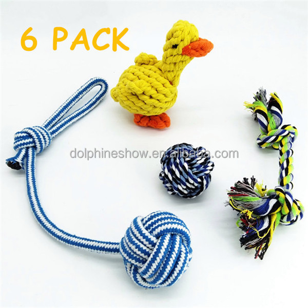 Latex Squeaky Dog Toy Set For Pet LOW MOQ 4 Pack Custom LOGO Cartoon Chew Cotton Rope Dog Toys 2017