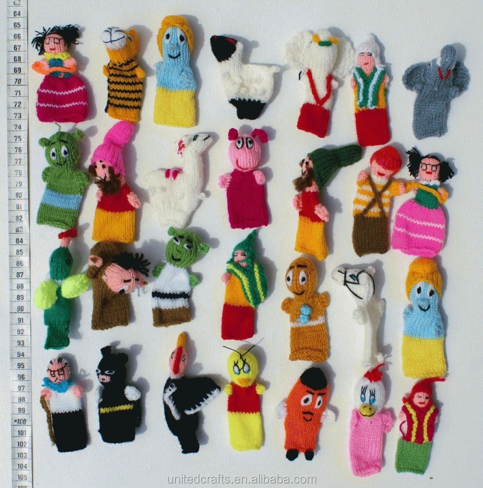 Lot 10 Baby Dolls Hand Knit Handmade Finger Puppets Animals / Folk Art Crafts