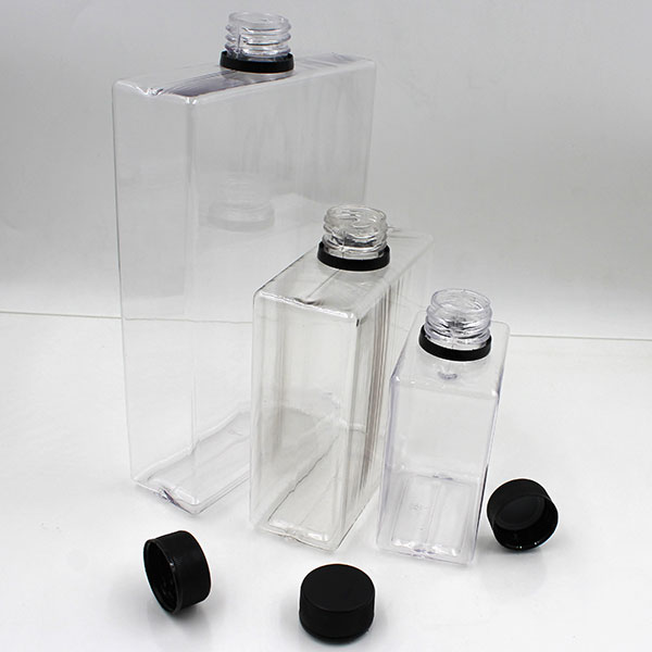 New product plastic 250ml 500ml 1 L flat square PETG bottle