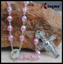 Womens Catholic Gift 8MM Pink Bead Pope Francis Rosary Necklace