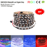 60leds/m RGB Color Changeable LED Digital Strip Light DMX,SMD 5050 LED Pixel Strip Light IC WS2811 Programmable