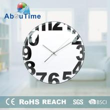 12inch waterproof bathroom glass wall clock with different design for promotion