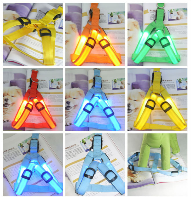 Specializing Dog Led Flashing Harness Collar Pet Leash Rope Belt Dog Harness Safety Lead Light