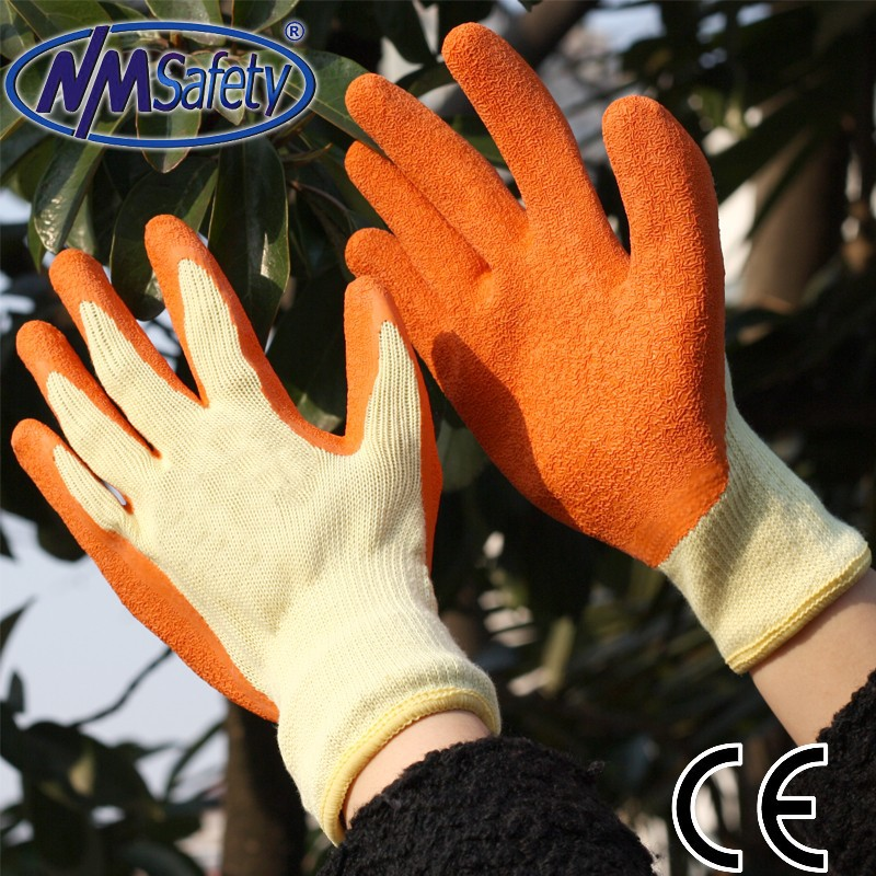 NMSAFETY 10g polycotton knitted orange latex rubber hand gloves firm grip work gloves