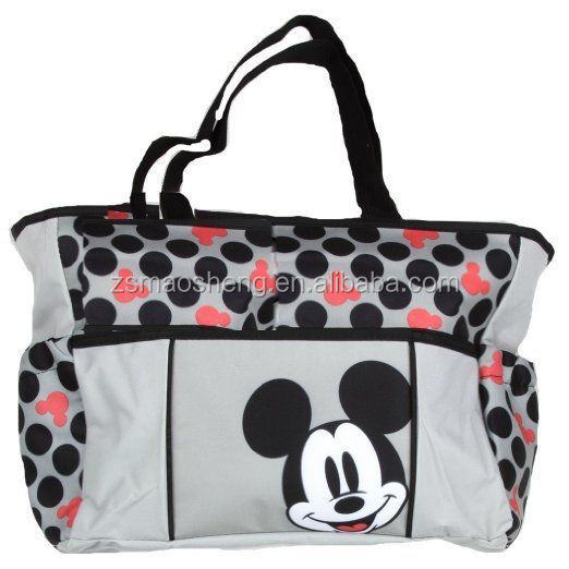 Mickey Mouse Diaper Bag Tote Baby Shower Gift Travel Bottle Bag Polk Dot