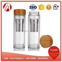 Eco-friendly double wall glass water bottle with bamboo screw cap tea filter wholesale