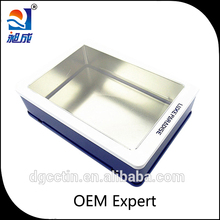 gift tin box with pvc window metal gift tin packing rectangtular metal box with window