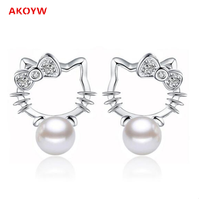 Silver plated Shambhala Super Flash crystal agate stone imitation pearl earrings fashion Hello Kitty jewelry 8MM