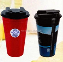 China made Insulated double wall plastic coffee cup with clips