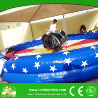 2016 China Amusement Rides Manufacturer Inflatable Mechanical Bull Bulk Red Bull