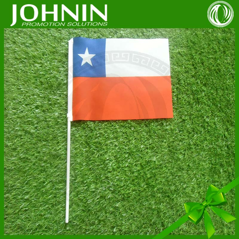 30X45 cm Chile promotion gift 100% polyester mini stick flags