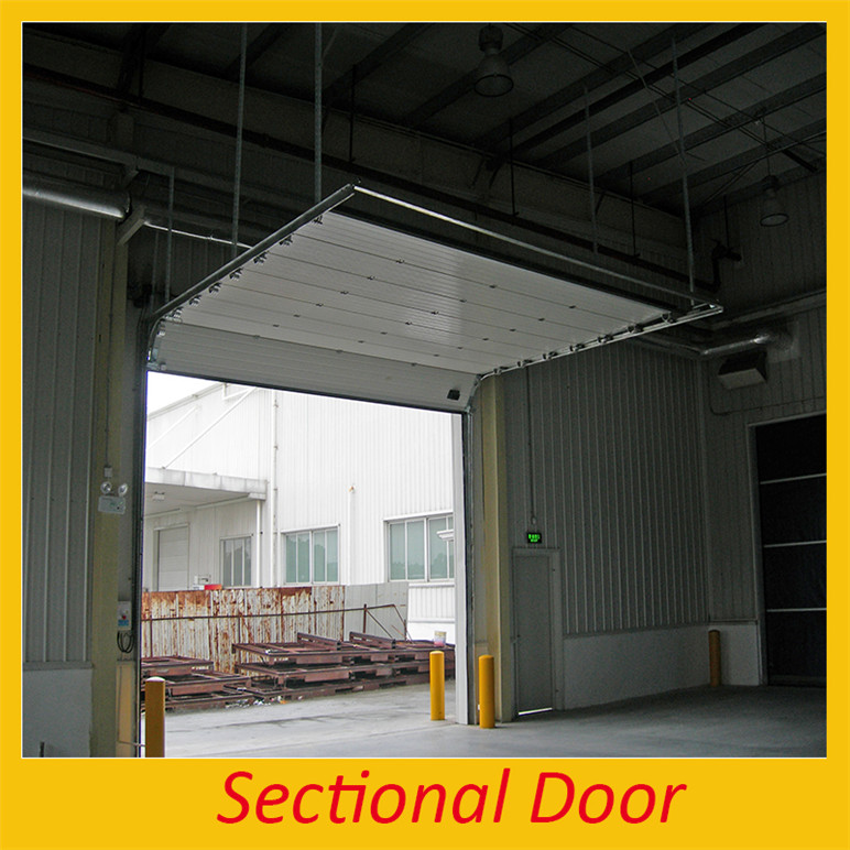 Transparent polyester double glass doors/industrial sectional door