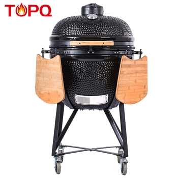 TOPQ XL 25 inch outdoor bbq charcoal clay tandoor oven ceramic smoker portable kamado grill