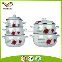10pcs carbon steel white enamel pot enamel cookware with printing