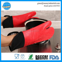 BBQ oven mitts silicone cotton lining kitchen gloves