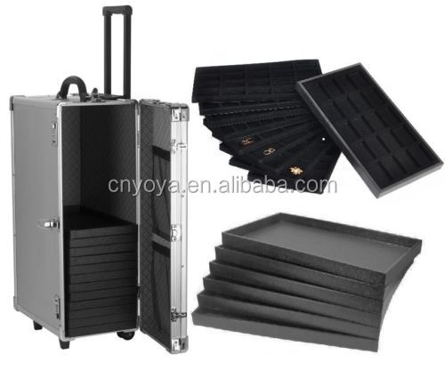 Details about LARGE ALUMINUM JEWELRY CARRY CASE TRAVEL ROLLING CASE & JEWELRY TRAYS & LINERS