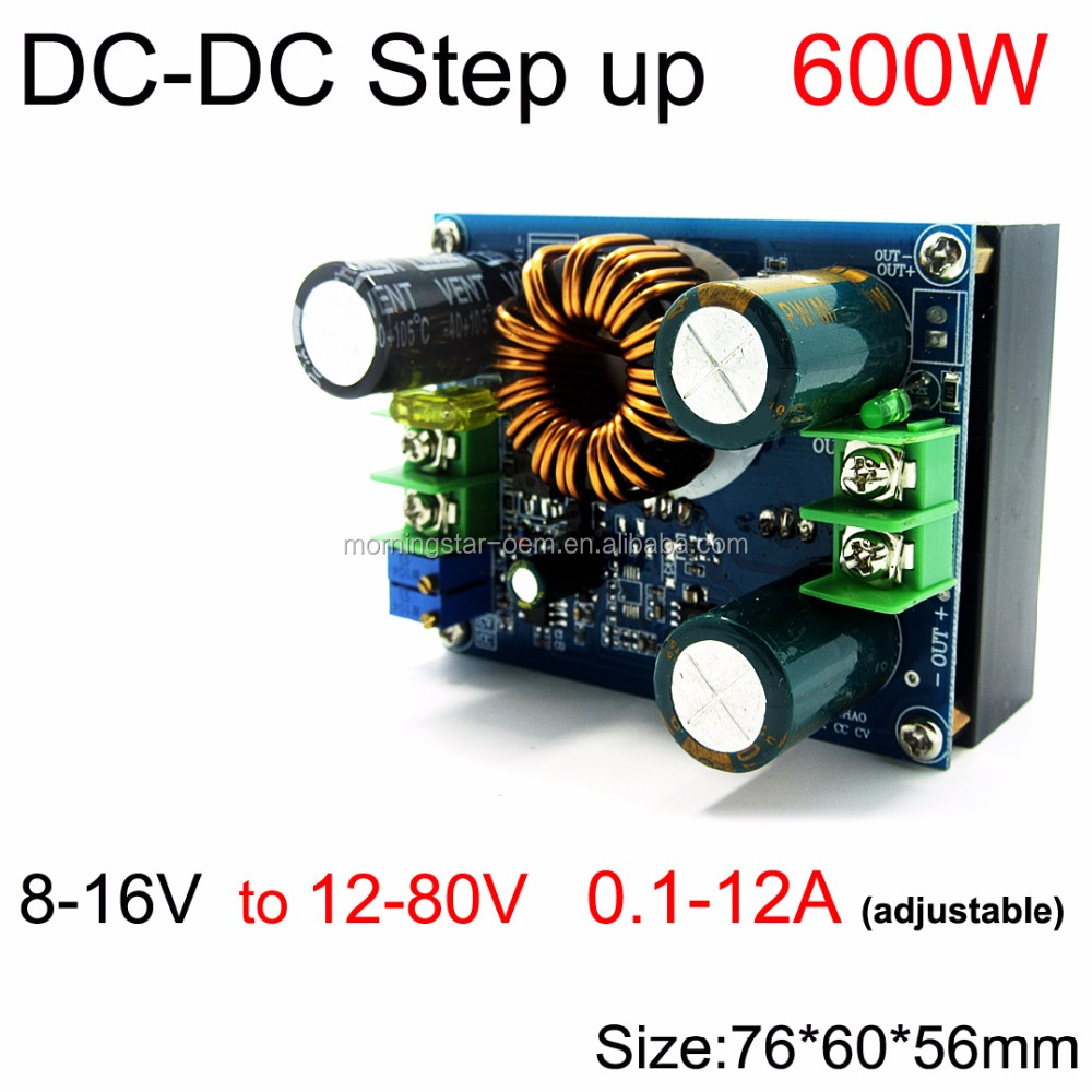 600W <strong>DC</strong> to <strong>DC</strong> Step up power supply 8-16V to 12-80V 0.1-12A Car / Solar panel regulator charge for laptop / PDA / LED driver
