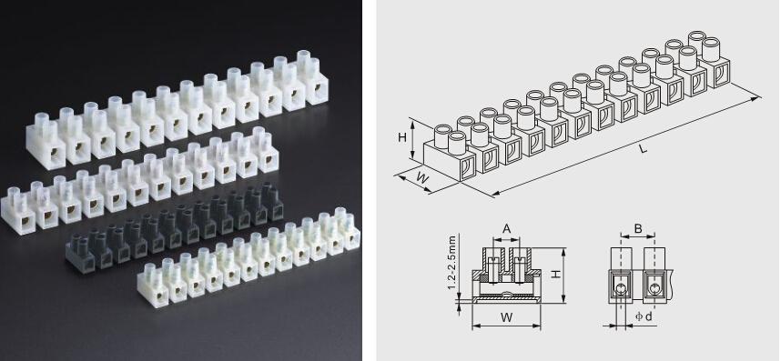 Factory price H U V type parallel stacking waterproof terminal block ...