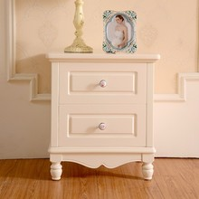 Custom Vintage French white wooden nightstand with drawers