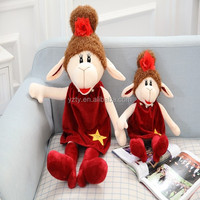 lovely red color plush soft animal toys lamb