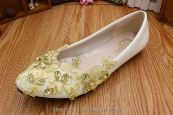 Gold lace flaT hand-made wedding shoes can be worn in low and white women's shoes WS037
