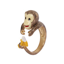 creative animal themed jewelry Ladies cute enamel monkey gold plated brass finger ring