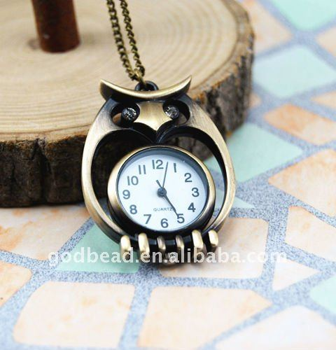 W420 wholesale Antique brass bronze pocket watch chain charm pendant watch necklace nickel free lead free