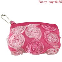 Designer hot sale pink fabric rose coin purse made to order
