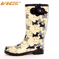 women sex rubber rain boots with dog printing
