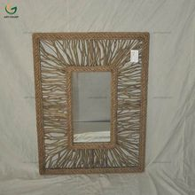 Handmade decorative frame wall mirror rope decorated tabletop mirror