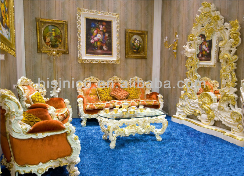 Luxury home sofa set,european classical living room furinture,wooden hand carving(B51016)