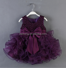 2016 hot sell flower girl dress top selling sleeveless baby girl prom dress with Bow-time and pearl in India