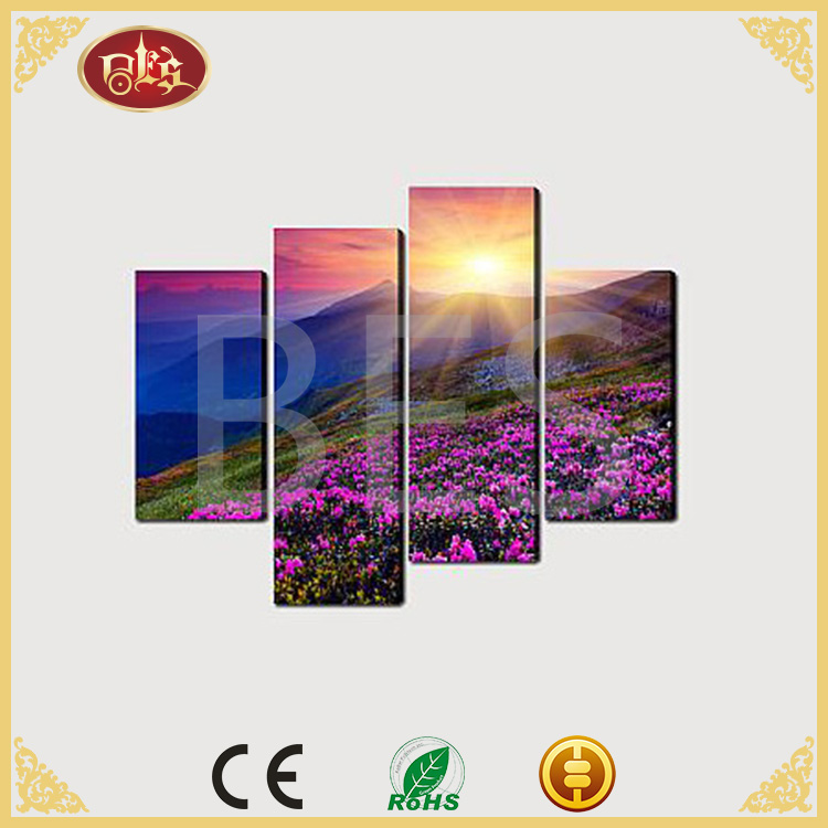4 panel antique light up flower led wall art canvas painting